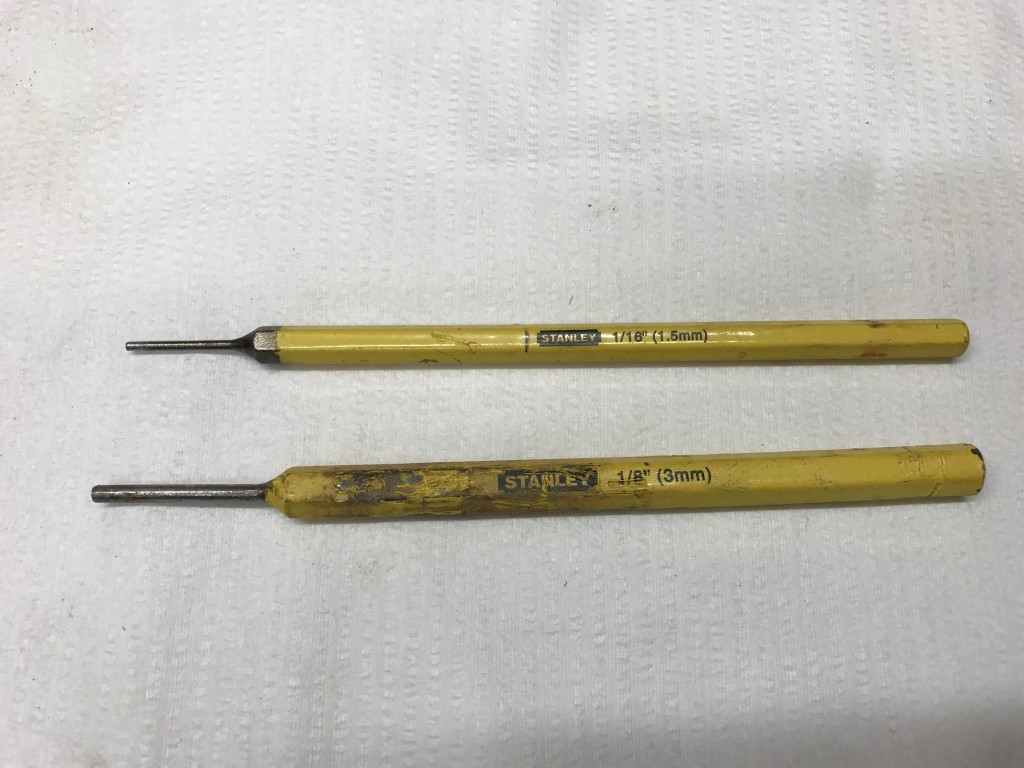 3mm and 1.5mm punches for removing pin
