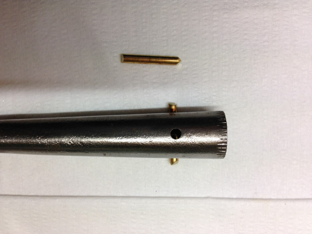 Hosel with 3.5mm hole showing length of brass pin
